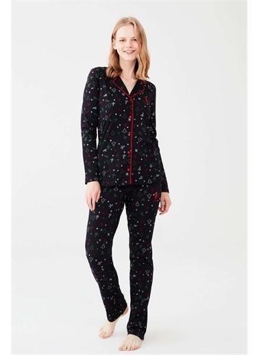 U.S. Polo Assn. U.S. Polo Assn. Kadın Pembe Boydan Patlı Pijama Takım Lacivert